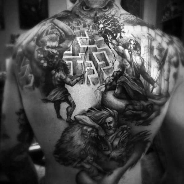 3d Back Mens Tattoo With Minotaur Design