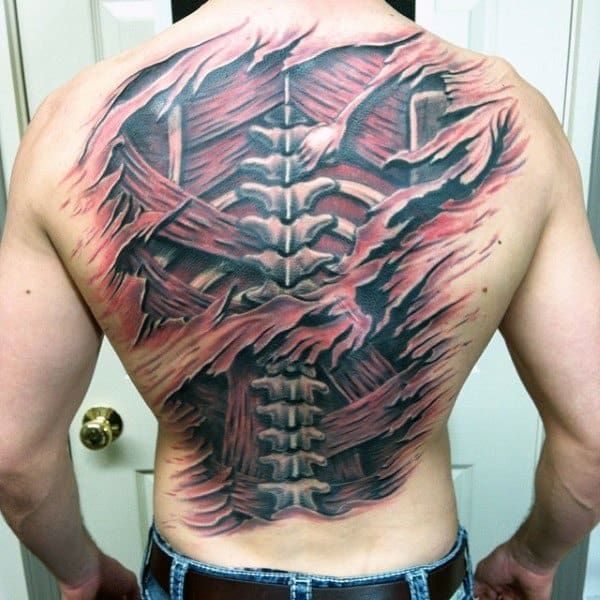 3d Back Spine With Muscle Tattoo Designs Anatomical