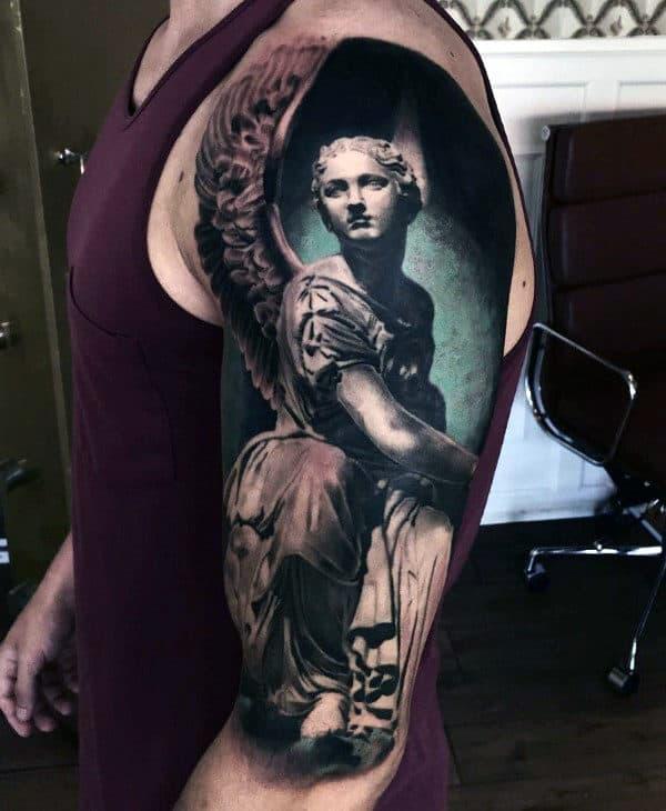 3d Badass Angel Mens Half Sleeve Tattoo Inspiration