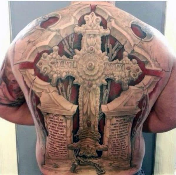 3d Badass Guys Full Back Stone And Chains Back Tattoo