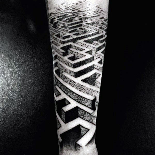 3d Badass Maze Forearm Sleeve Male Tattoos