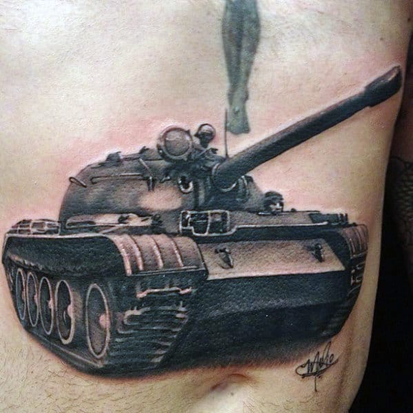 3d Battle Tank Guys Badass Chest Tattoo Ideas