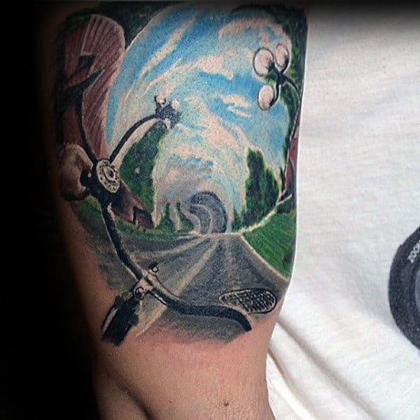 3d Bike On The Road Landscape Mens Bicep Tattoos