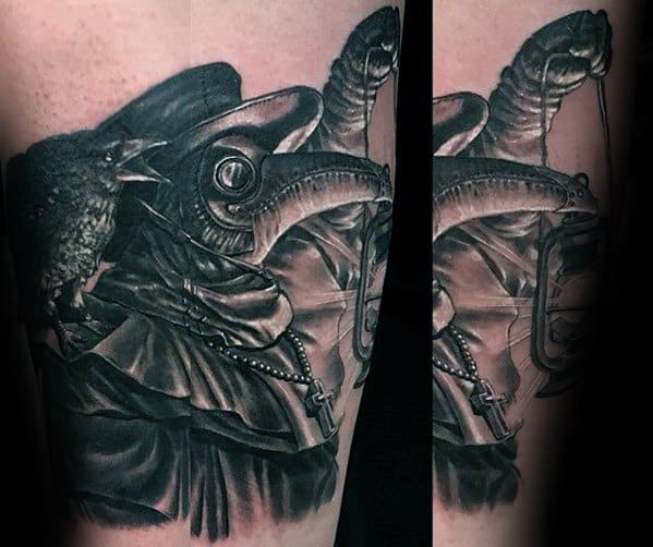 3d Black And White Ink Shaded Guy With Plague Doctor Tattoo Design