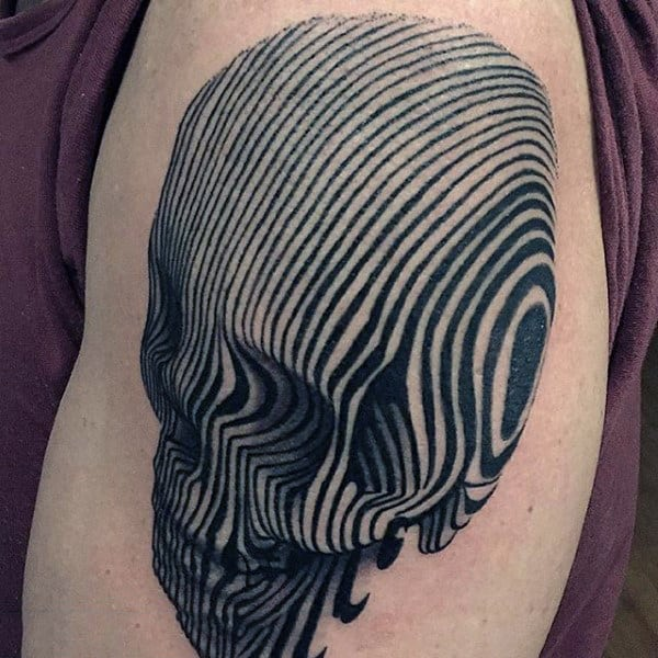 3d Black Line Skull Tattoo For Men On Arm