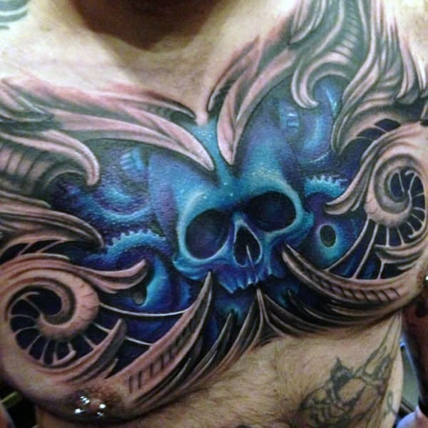 3d Blue Skull Mens Upper Chest Tatoto