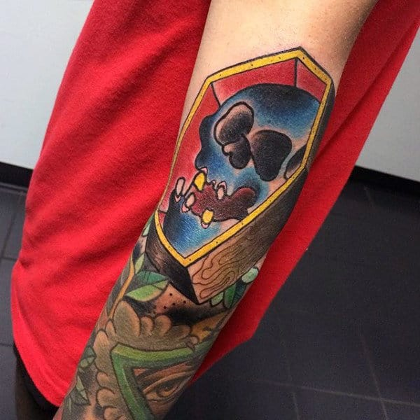 3d Blue Skull With Coffin Mens Sleeve Tattoo
