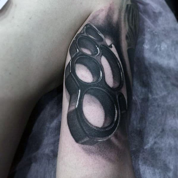 3d Brass Knuckles Mens Outer Arm Tattoo Designs
