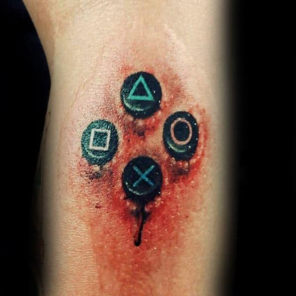 3d Buttons Arm Playstation Mens Tattoo Ideas