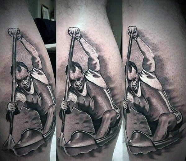 3d Canoe Mens Tattoo Ideas