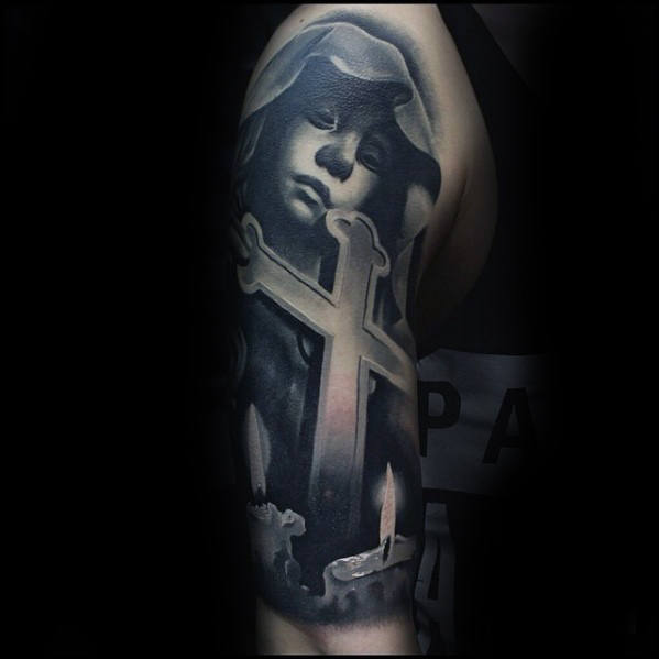 f78235189f9bc 3d Catholic Mother Mary With Cross And Candles Guys Half Sleeve Tattoo