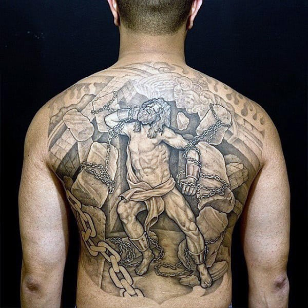 3d Chained Man Original Full Back Tattoo On Gentleman