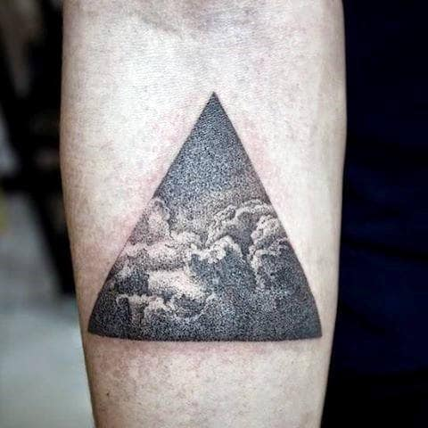 3D Chest Tattoo For Men Triangle Ocean Waves