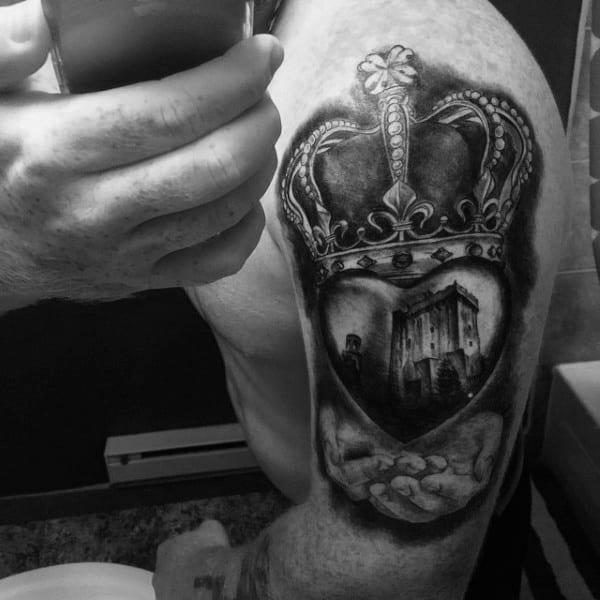 3d Claddagh Mens Tattoos On Upper Arm