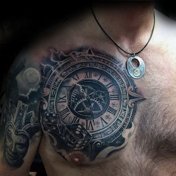 3d Clock With Gears Guys Upper Chest Tattoo Ideas