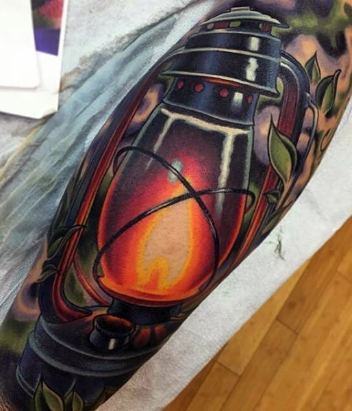 3d Colorful Lantern Mens Sleeve Tattoos