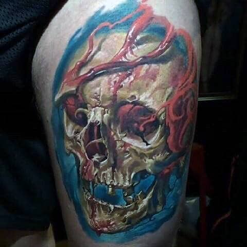 3d Colorful Skull Mens Thigh Tattoo Ideas
