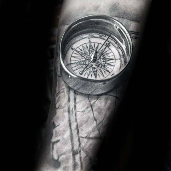 3d Compass Stone Badass Male Realistic Forearm Tattoos