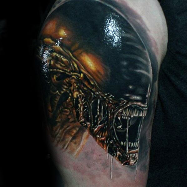 3d Cool Male Xenomorph Tattoo Designs