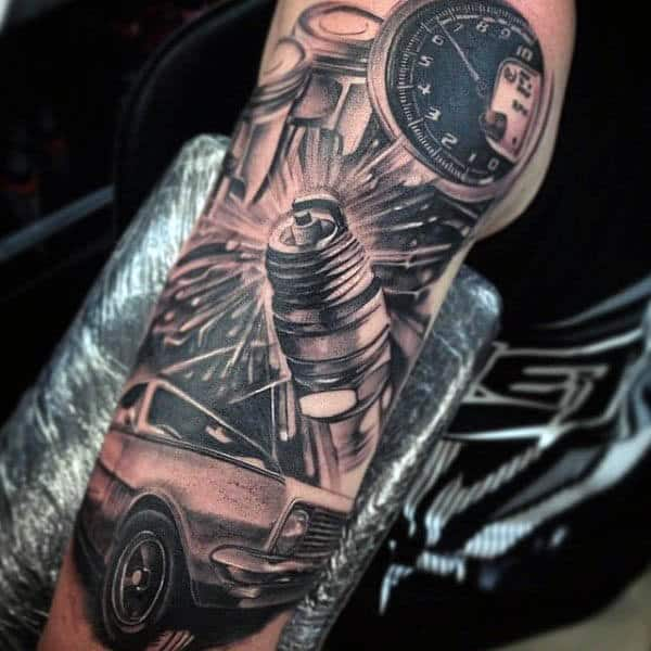 3d Coool Spark Plug Tattoo For Guys On Upper Arm