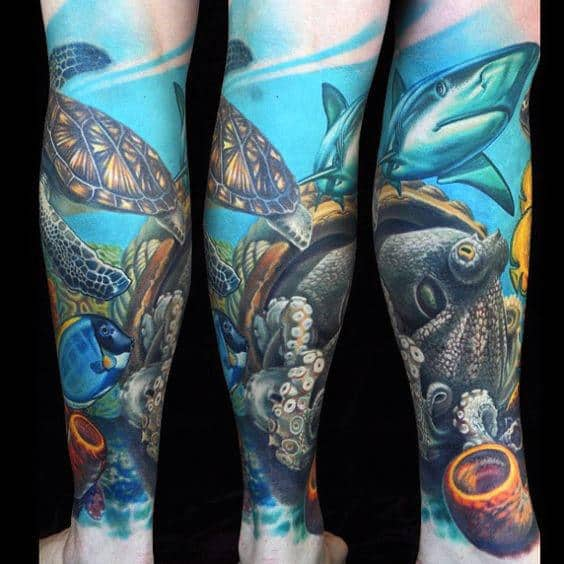 3d Coral Reef Ocean Leg Sleeve Tattoo Designs For Men
