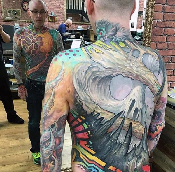 3d Crazy Mens Full Back Skull Tattoos