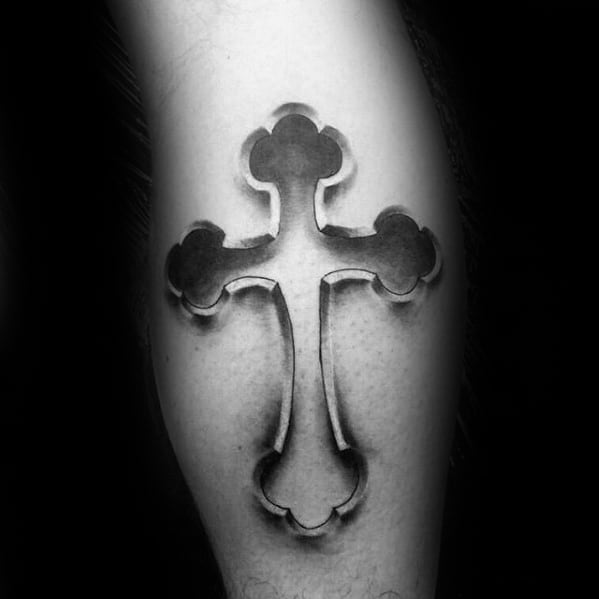 3d Cross Male Small Religious Tattoo On Legs
