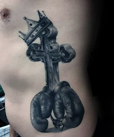 3d Cross With Boxing Gloves And Crown Rib Cage Side Tattoos For Guys