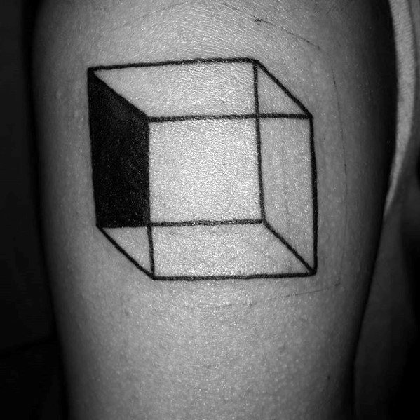 3d Cube Mens Simple Geometric Upper Arm Tattoo
