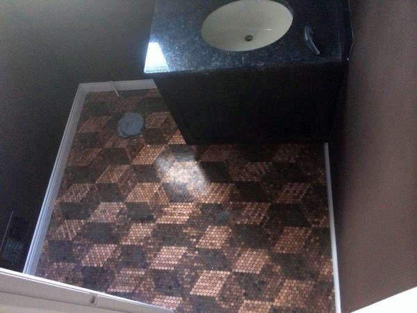 3d Cube Pattern Penny Floor Bathroom