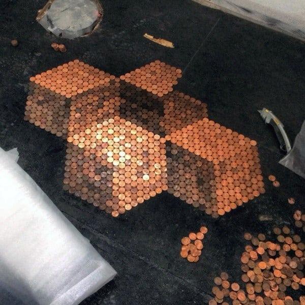 3d Cubes Penny Floor Designs