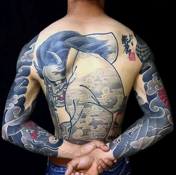3d Demon Guys Japanese Back Tattoo