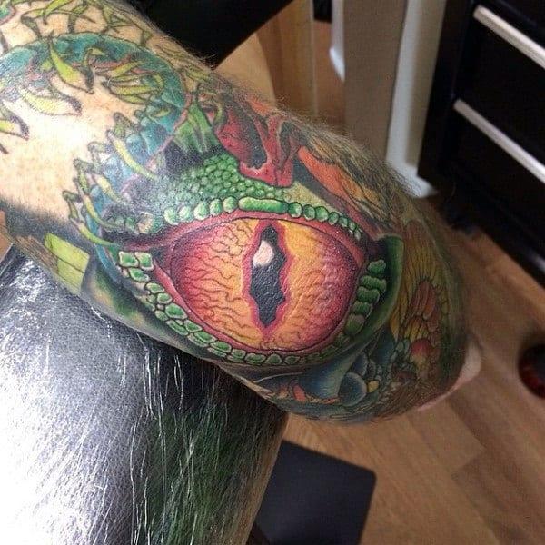 3d Dragon Eye Modern Guys Elbow Tattoo Ideas