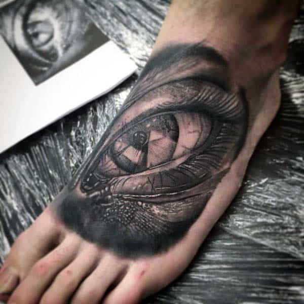 3d Extreme Eye Tattoo On Mans Foot