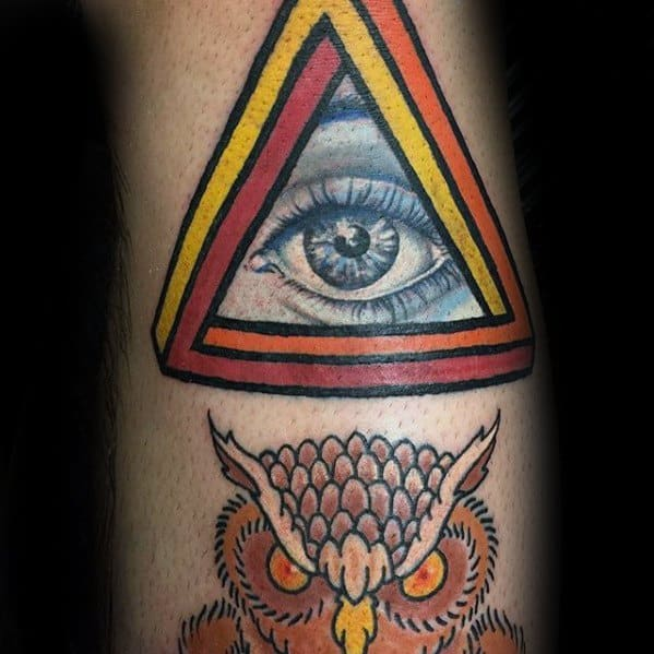 3d Eye Arm Penrose Triangle Guys Tattoos