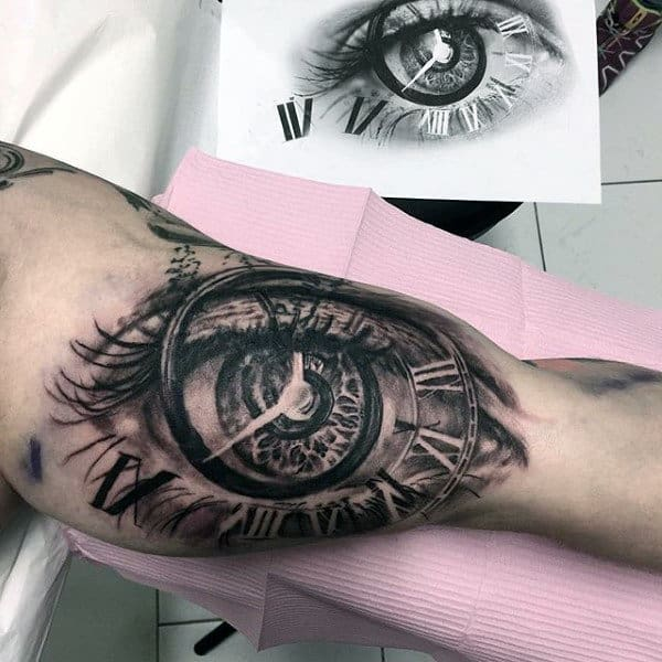 3d Eye Clock Roman Numeral Mens Bicep Tattoo Designs