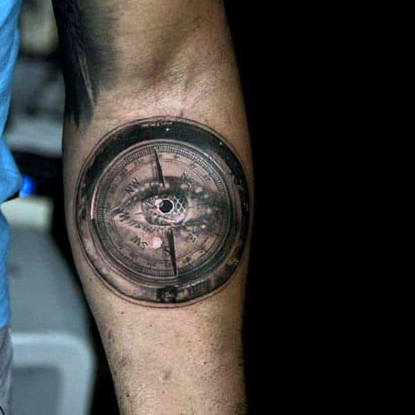 3d Eye Compass Mens Small Unique Inner Forearm Tattoos