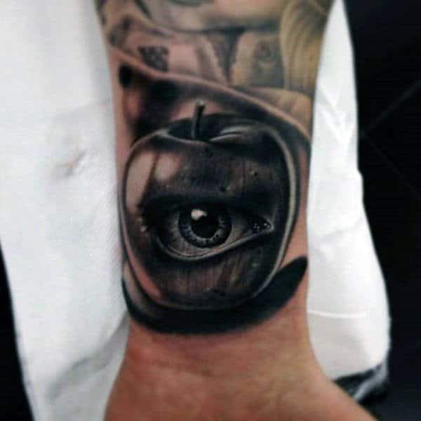 3d Eye Inside Apple Guys Wrist Tattoos