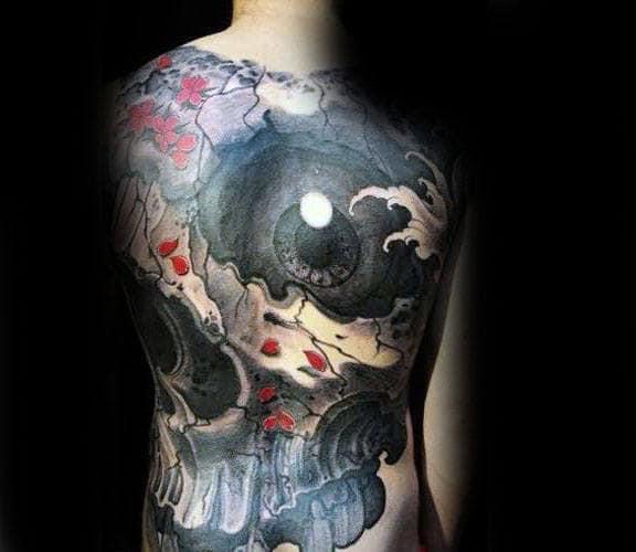 3d Eye Japanese Skull Mens Full Back Tattoo Ideas
