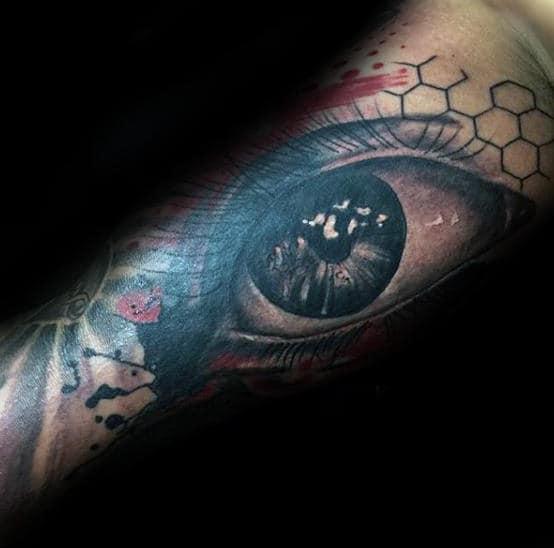 3d Eye Trash Polka Mens Arm Tattoos