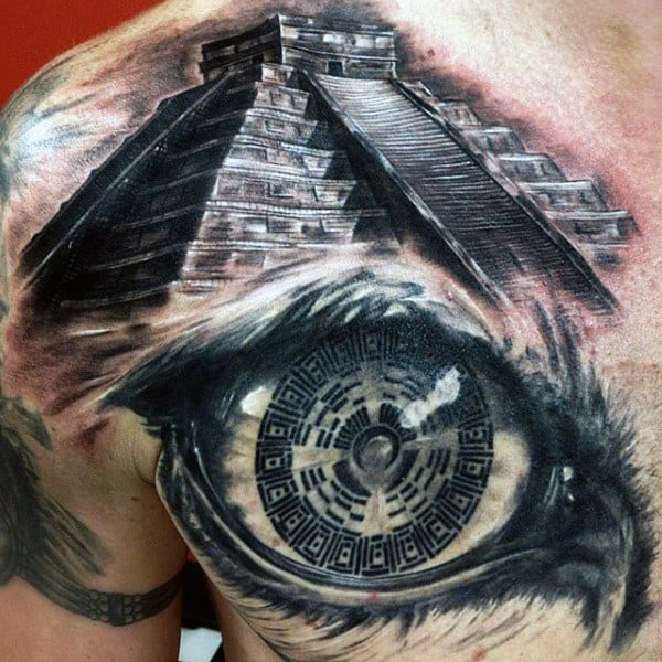 3d Eye With Aztec Pyramid Mens Chest Tattoo Designs