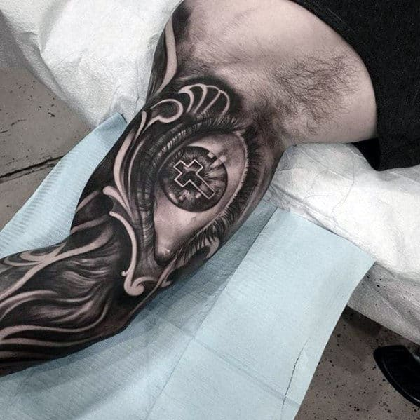 3d Eye With Cross Mens Badass Inner Arm Sleeve Tattoo Ideas