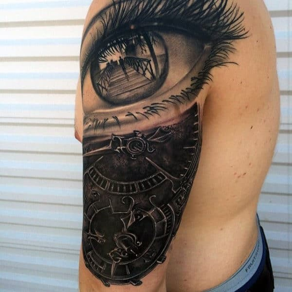 3d Eye With Mechanical Gears Mens Detailed Half Sleeve Tattoo