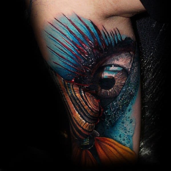 3d Eye With Seashell Mens Unusual Inner Arm Tattoos