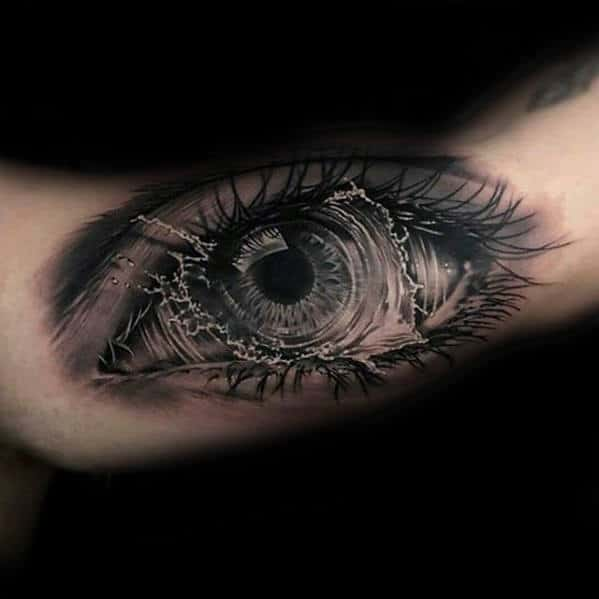 3d Eye With Water Splash Mens Arm Tattoo