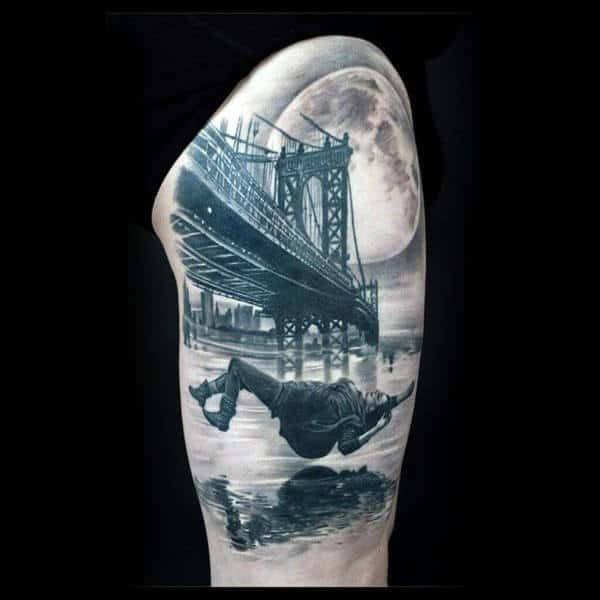 3d Falling Person With Bridge And Moon Sky Guys Half Sleeve Tattoo