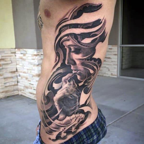 3d Female Portrait Black Ink Guys Rib Cage Side Tattoo Designs
