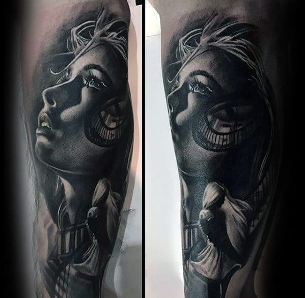 3d Female Portrait Leg Sleeve Mens Tattoo With Morph Design