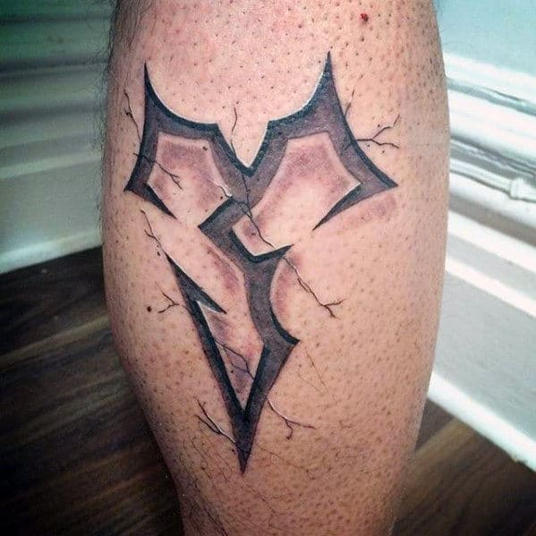 3d final fantasy jecht symbol tattoo on leg calf