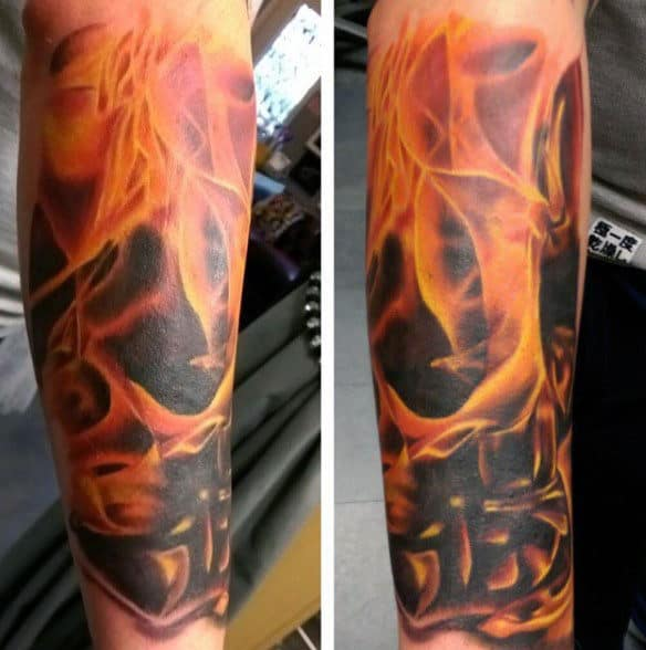 3d Flaming Skulls Guys Tattoos Sleeve
